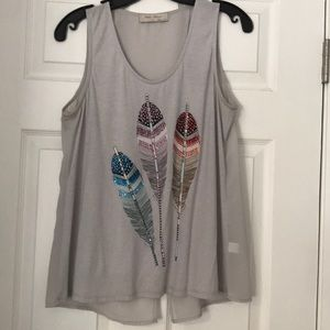 Bear Dance grey feather tank top